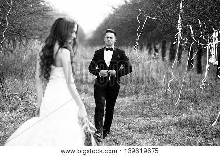 Wedding Couple Walking Outdoor