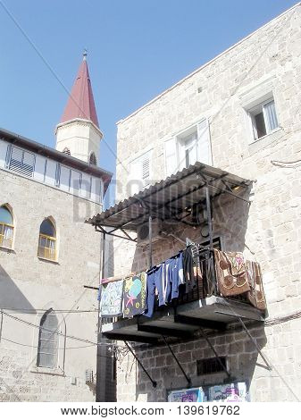 Houses near Terra Sancta School in the old city of Acre Akko Israel