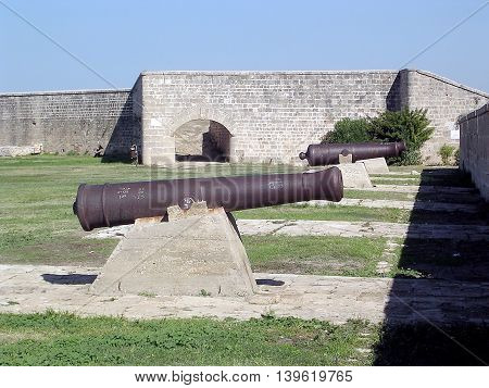 Napoleon's cannons of old fortress in Akko (Acre) Israel