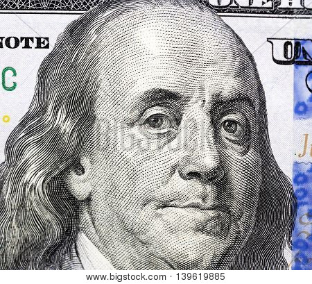 photographed close-up of the new one hundred US dollars