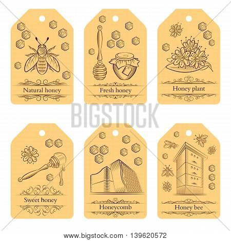 Set of labels with pots of honey bees and flowers. Honey labels in vintage style. Vector illustration.