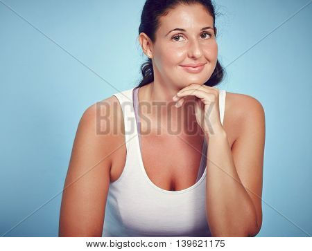 Smiling Young Yoga Fitness Woman On Blue Background