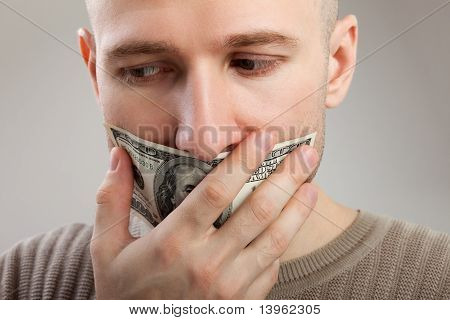 Dollar Money Gag Shut Voiceless Men