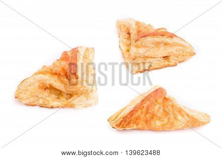 Close up Pineapple pie isolated on white background