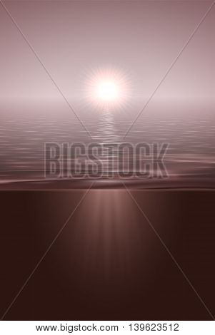 Sunshine over calm water surface split view tinted image