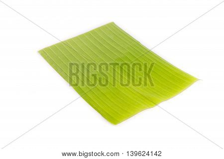 Fresh Green Banana Leaf Isolated On White