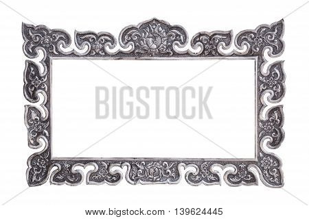 The Traditional Thai Style Handmade Silver Metal Carving Isolated On White