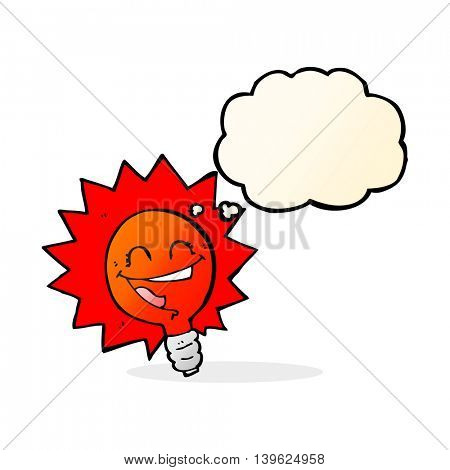 happy flashing red light bulb cartoon  with thought bubble