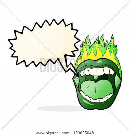 cartoon halloween mouth with speech bubble