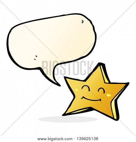 cartoon happy star character with speech bubble
