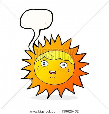 sun cartoon character with speech bubble