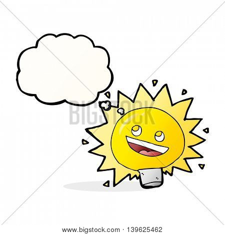 cartoon electric light bulb with thought bubble