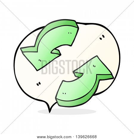 freehand drawn speech bubble cartoon recycling arrows