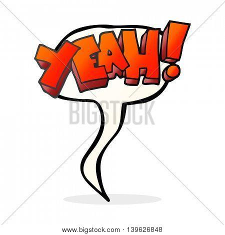 yeah! freehand drawn speech bubble cartoon shout