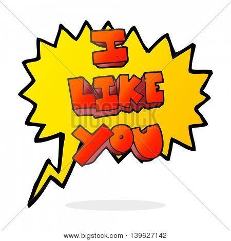 I like you freehand drawn speech bubble cartoon symbol