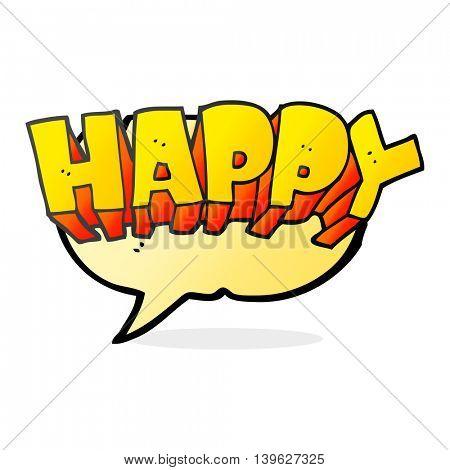 freehand drawn speech bubble cartoon word happy