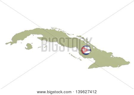 Silhouette Of Cuba With Flag On Button