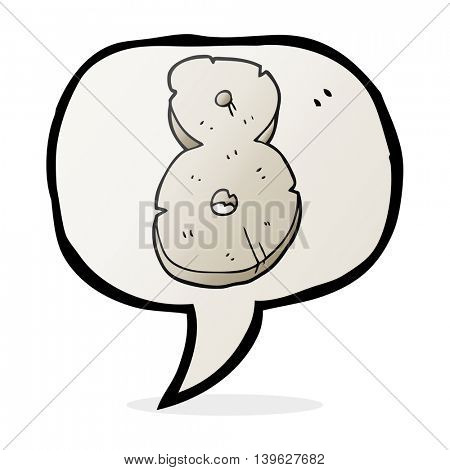 freehand drawn speech bubble cartoon stone number eight