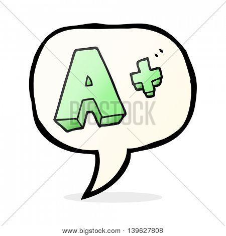 freehand drawn speech bubble cartoon A grade symbol