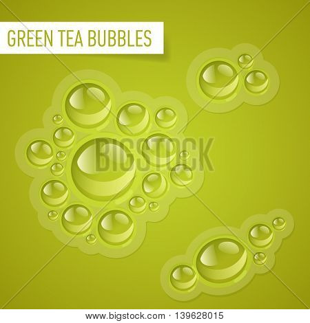 Bubbles of green tea on a yellow green background