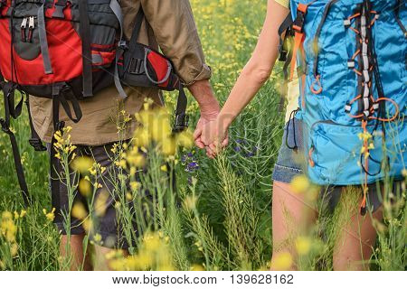 Close up of loving couple holding hands. Man and woman are standing on flower field with backpacks