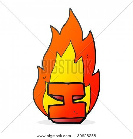 freehand drawn cartoon flaming letter I