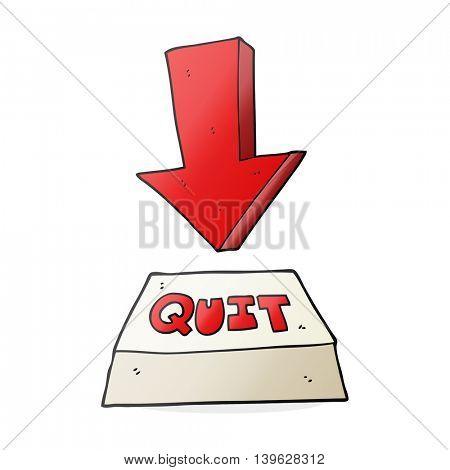 freehand drawn cartoon quit button