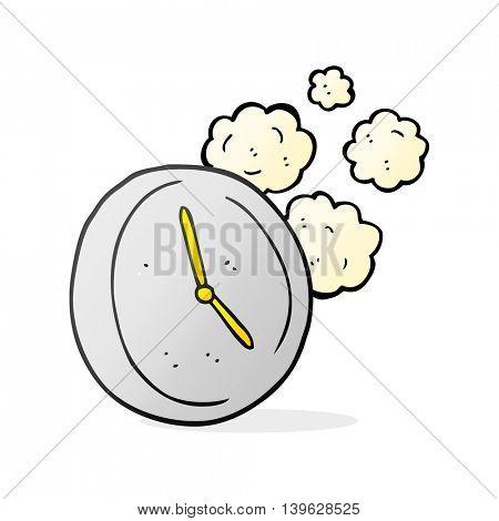 freehand drawn cartoon ticking clock