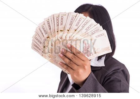 Woman Holding Thai Money Hide Her Face Isolated On White