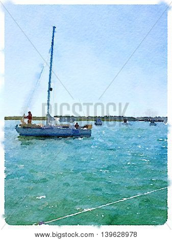 A digital watercolor painting of a sailing boat going out to sea with someone putting foresail up. Portrait image with space for text.