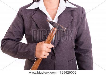 Thai Businesswoman Holding Hammer Isolated On White Background