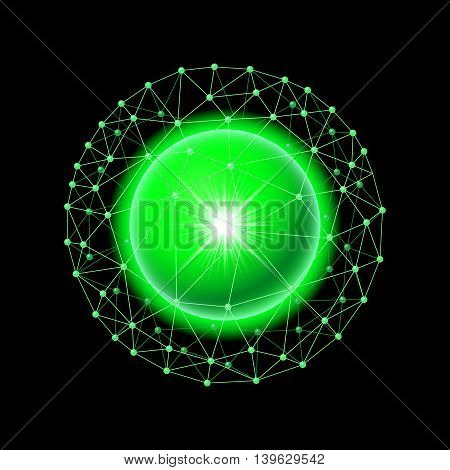 Bright green ball inside the grid on a black background