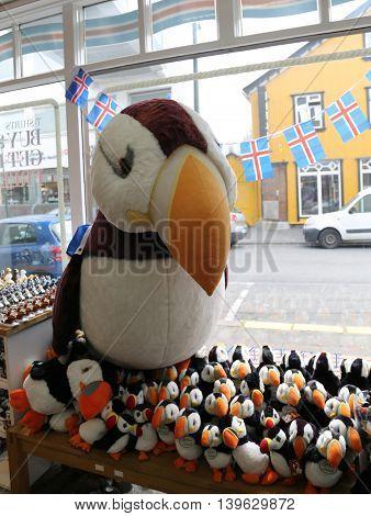 REYKJAVIK, ICELAND - JULY 5, 2016: Popular Icelandic souvenir Puffin on display in Reykjavik.