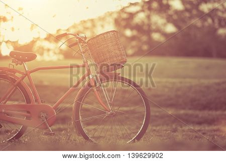 Red Japan Style Classic Bicycle At The Park