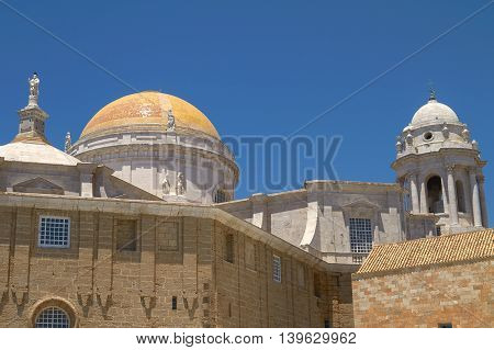 Close View Of Cadiz Cathedral Domes, Spain