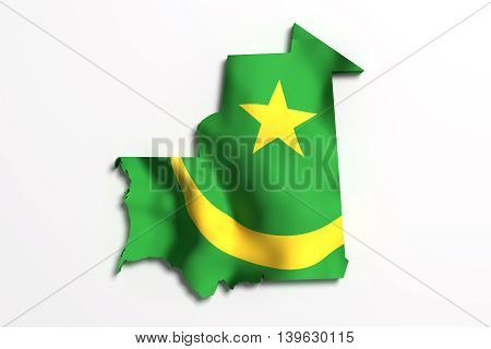 Silhouette Of Mauritania Map With Flag