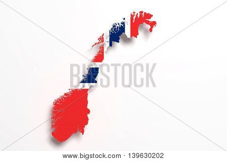 Silhouette Of Norway Map With Flag