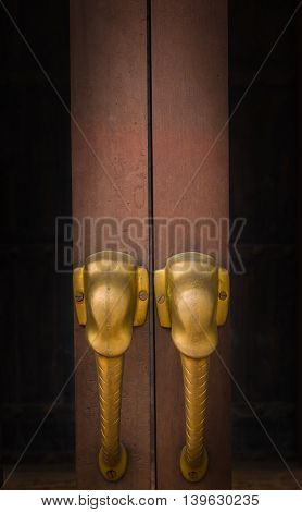 Chinese door handle elephant dark style background.