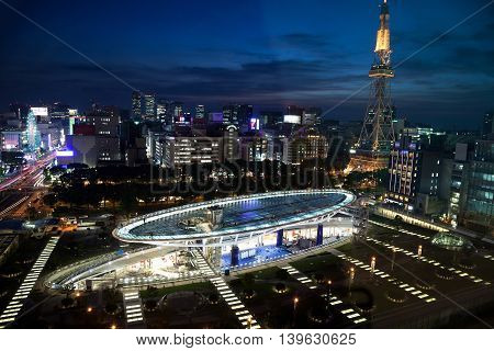 Oasis 21 in Nagoya Japan on June 17, 2016. A shopping complex nearby Nagoya Tower. its large oval glass roof structure floats above ground level on June 17, 2016.