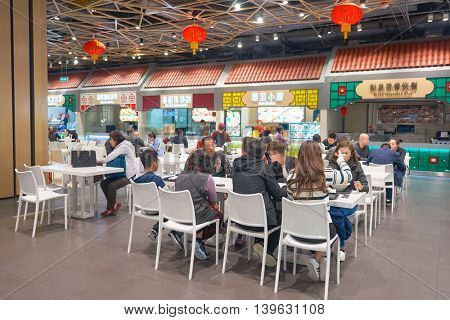 MACAO, CHINA - FEBRUARY 16, 2016: foodcourt at Sands Cotai Central.  Sands Cotai Central is a casino resort on the Cotai Strip, Macau, China.