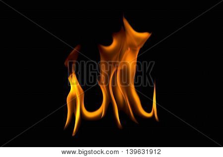 Abstract fire flames on a black background