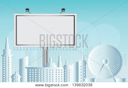 Billboard advertisement commercial blank city view background Flat style vector illustration.