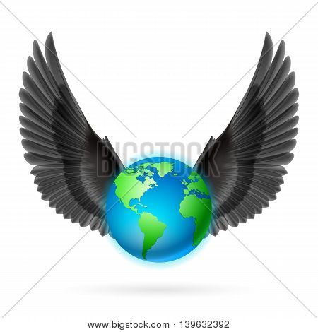 Terrestrial globe with two raised black wings on white background.