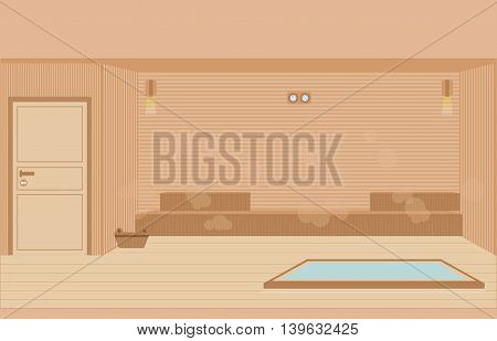 Sauna steam room sauna interior flat design character vector illustration.