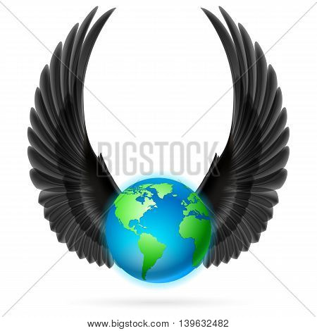 Terrestrial globe with two black wings up on white background.