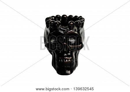 Black skull isolated on a white background.