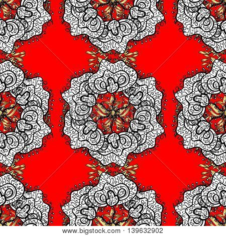 Vintage pattern on red background with white floral elements.