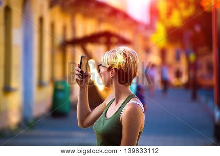 Portrait Of A Beautiful Girl With The Phone.