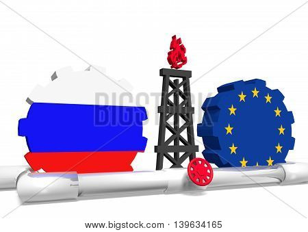 image relative to gas transit from russia to european union. 3D rendering