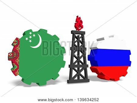 image relative to gas transit from turkmenistan to russia. 3D rendering